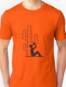 drinking beer drinking drink alcohol drunk party desert sun sunset sunrise big cactus desert thorn Unisex T-Shirt