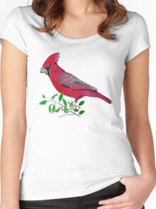 Beautiful cardinal or redbird colored pencils drawing Women's Fitted Scoop T-Shirt
