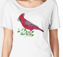 Beautiful cardinal or redbird colored pencils drawing Women's Relaxed Fit T-Shirt