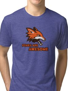 Foxes Are Awesome Cool Retro Cheesy Trashy Clip Art Tri-blend T-Shirt