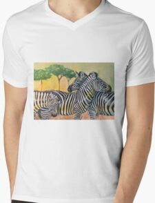 ZEBRAS Mens V-Neck T-Shirt