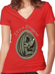 Dragon Egg - It's a Dragon Gender Reveal Joke Green Women's Fitted V-Neck T-Shirt