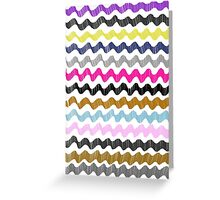 Zig-Zag Stripes Purple Pink Blue Gold Black Gray Greeting Card