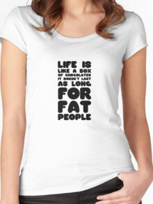 Fat People Humour Funny Joke Dark Clever Comedy Women's Fitted Scoop T-Shirt