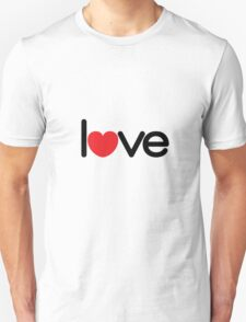Love (06 - Black & Red on White) Unisex T-Shirt