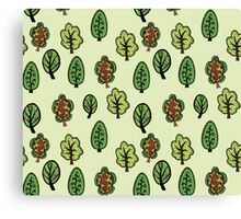 Cute forest on light background Canvas Print