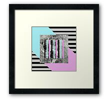 Bold Marble Stripes - Abstract Geometric Art In Block Pink And Teal, Marble Black And Black Stripes Framed Print