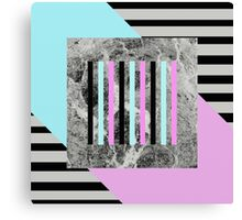 Bold Marble Stripes - Abstract Geometric Art In Block Pink And Teal, Marble Black And Black Stripes Canvas Print