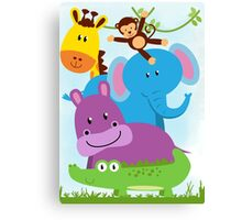 Fun Zoo Animals Monkey Elephant Giraffe Hippo Gator Canvas Print