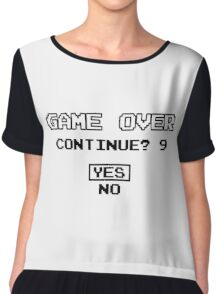 Game Over Continue Gaming Retro Old School 90s  Chiffon Top