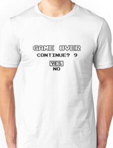Game Over Continue Gaming Retro Old School 90s  Unisex T-Shirt