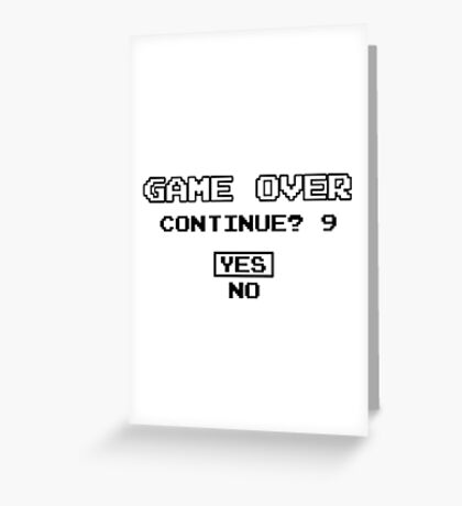Game Over Continue Gaming Retro Old School 90s  Greeting Card
