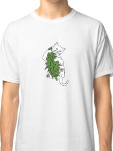 Cat Wrapped Around Weed Bud Classic T-Shirt
