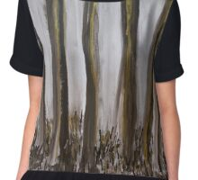 Forest in Black & Gold Chiffon Top