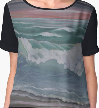 stormy ocean sunset Chiffon Top