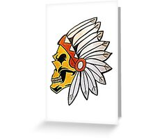 Native American Chief Skull Greeting Card