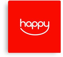 Happy (01 - White on Red) Canvas Print
