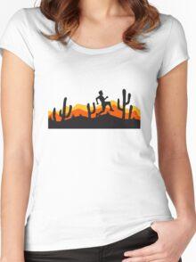 race out jogging relay race sport desert evening night sunset sunrise kakten cactus hot hot Women's Fitted Scoop T-Shirt