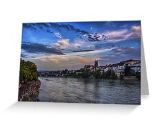 Basel Bathed in Moonlight Greeting Card