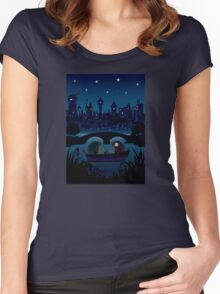 Hedgehogs in the night Women's Fitted Scoop T-Shirt
