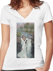 Waterfall in the Scottish Highlands near Glencoe Women's Fitted V-Neck T-Shirt