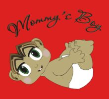 Mommy's Boy Brown Hair and Green Eyes Kids Tee