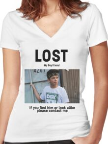 Lost Boyfriend: Jacob Sartorius (White Version) Women's Fitted V-Neck T-Shirt