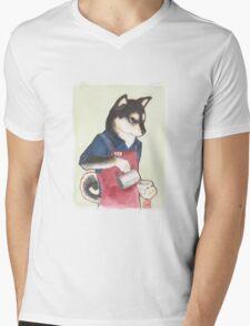 Barista Shiba Mens V-Neck T-Shirt