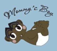 Mommy's Boy Black Hair and Brown Eyes Kids Tee