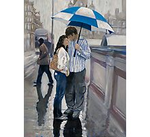 Couple in the Rain on Edinburgh Bridges Photographic Print