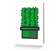 pixel nerd geek gamer videogame 2d 8 bit cactus design games zocken Greeting Card