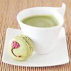 Green Tea Latte and Macaron by the-novice
