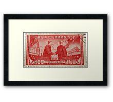 Mao Meets Stalin - Commemorative Stamp Framed Print