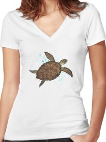 Hawksbill Sea Turtle ~ Watercolor  Women's Fitted V-Neck T-Shirt