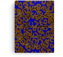 Florescent Blue Brown Painted Cheetah  Canvas Print