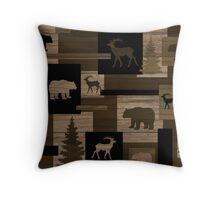 Rustic wood bear moose pattern Throw Pillow