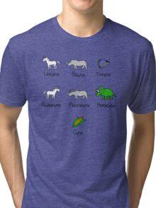 Unicorn, Bicorn, Tricorn, Quadcorn, Pentacorn, Hexacorn ... and Corn Tri-blend T-Shirt