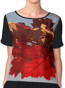 Cheerful Red Canadian Maple Leaves in the Fall Chiffon Top