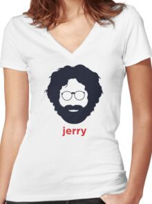 Jerry Garcia (Hirsute History) Women's Fitted V-Neck T-Shirt