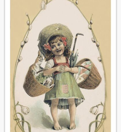 Young Girl With Smiling Rabbit - Vintage Sticker Sticker