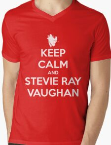Keep Calm and Stevie Ray Vaughan Transparent Mens V-Neck T-Shirt