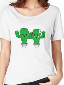 couple love woman man female male girl boy girl boy love flowerpot sweet cute little cactus face comic cartoon child Women's Relaxed Fit T-Shirt