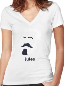 Jules Verne (Hirsute History) Women's Fitted V-Neck T-Shirt