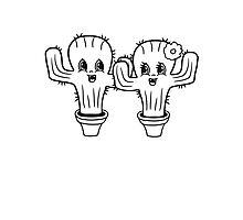 couple love woman man female male girl boy girl boy love flowerpot sweet cute little cactus face comic cartoon child Photographic Print