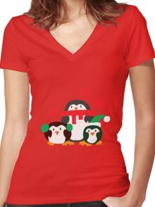 Winter Penguins Women's Fitted V-Neck T-Shirt