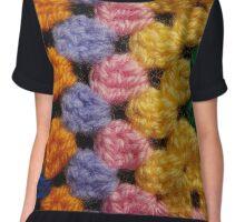 Pastel Knit Squares Chiffon Top