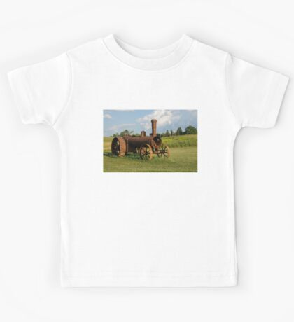 Antique And Rusty - a Vintage Iron Tractor on a Farm Kids Tee