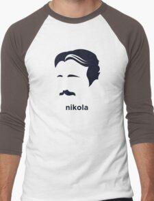 Nikola Tesla (Hirsute History) Men's Baseball ¾ T-Shirt