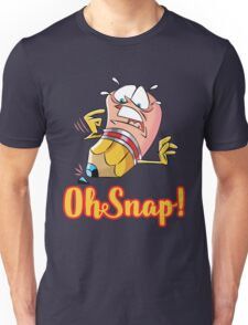 Funny Cartoon Oh Snap Broken Pencil Character Unisex T-Shirt