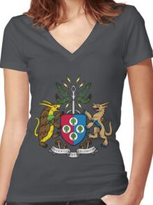 Denjuu World Coat of Arms Women's Fitted V-Neck T-Shirt